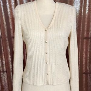 St. John evening knit sequin cardigan ivory ribbed